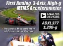 Da Analog Devices il primo accelerometro industriale MEMS analogico a 3-assi ad alto G